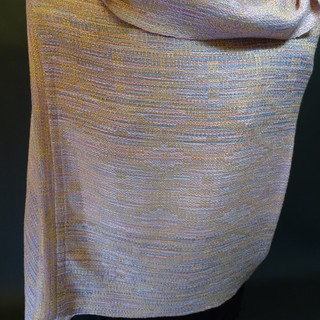 handpainted silk tencel peach straw mobius