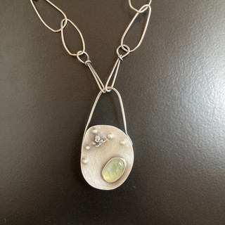 Large Sterling & Prehnite Hollowform Necklace with Handmade Chain