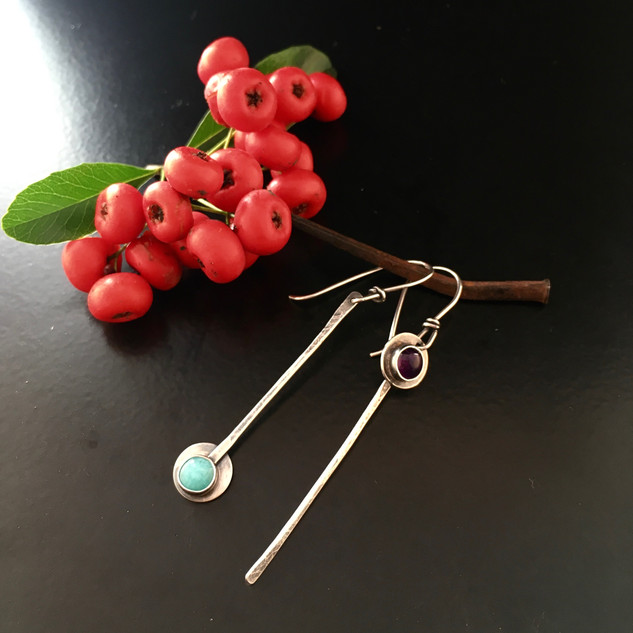 Sterling and Natural Stone Earrings