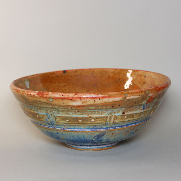 Bowl Carved Rust and Blue