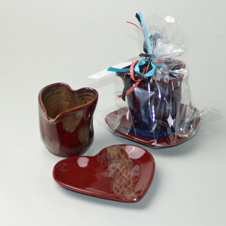Heart Pitcher and Saucer