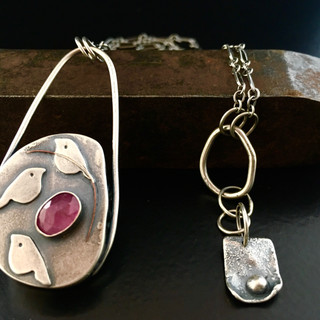 Sterling Silver & Pink Tourmaline Hollowform Necklace with Partially Handmade Chain