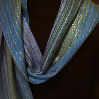 blues greens scarf tencel