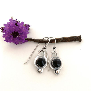 Sterling and Black Tourmaline Earrings