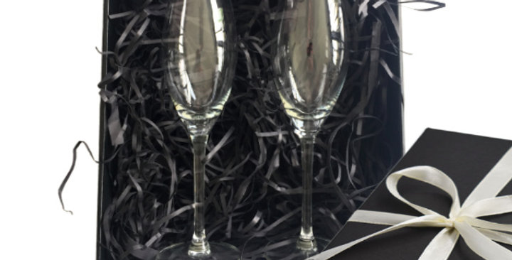 Engraved Champagne Glasses - Set of 2