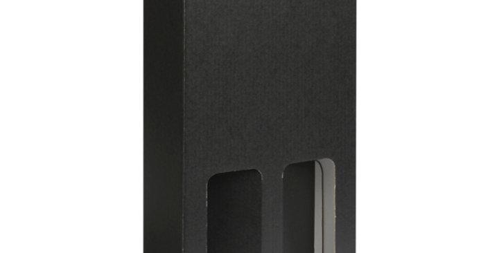 Two Bottle 750ml Cardboard Wine Box with Window - Black