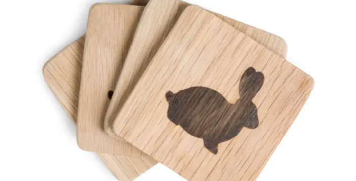 Oak Coasters with Bunny - Set of 4