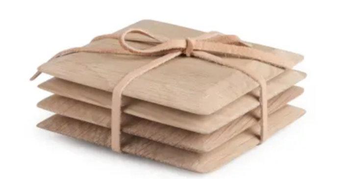 Oak Tapered Coasters - Set of 4