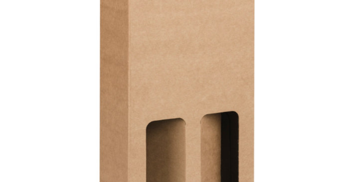Two Bottle 750ml Cardboard Wine Box with Window - Kraft