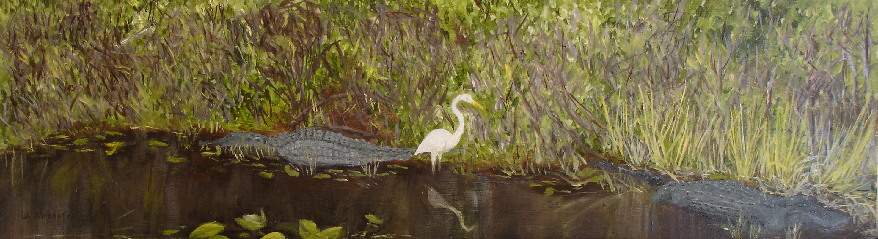 Everglades with alligators and egret_edited