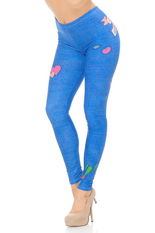 DOUBLE BRUSHED GRAPHIC CUTE DENIM BLUE LEGGINGS