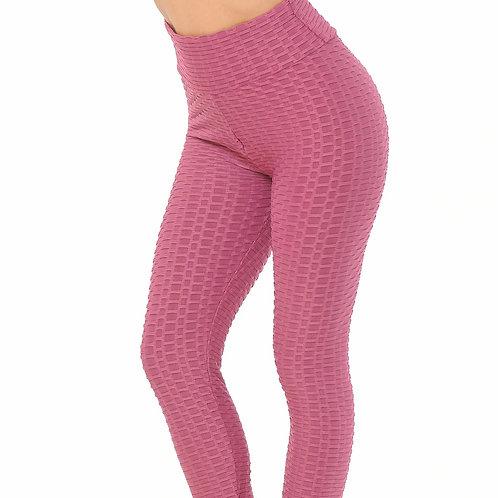 Rose-Mauve Ruched Scrunch Butt- Lifting Leggings