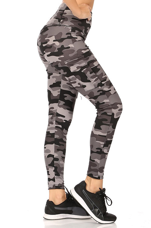 Charcoal Camouflage Butt Lifting-Tummy Control Leggings