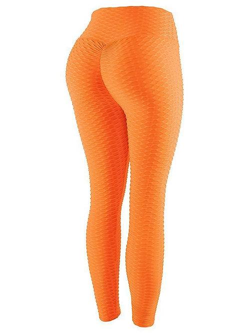 Neon Orange Ruched Scrunch Butt- Lifting Leggings