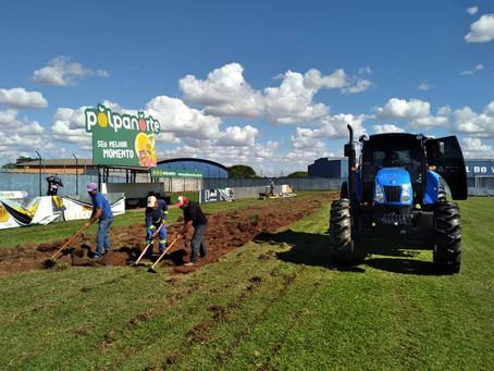 Prefeitura iniciou a troca do gramado do Estádio Albino Turbay