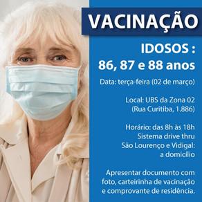 Prefeitura de Cianorte vacina idoso de 86 a 88 anos contra a Covid-19 nesta terça-feira