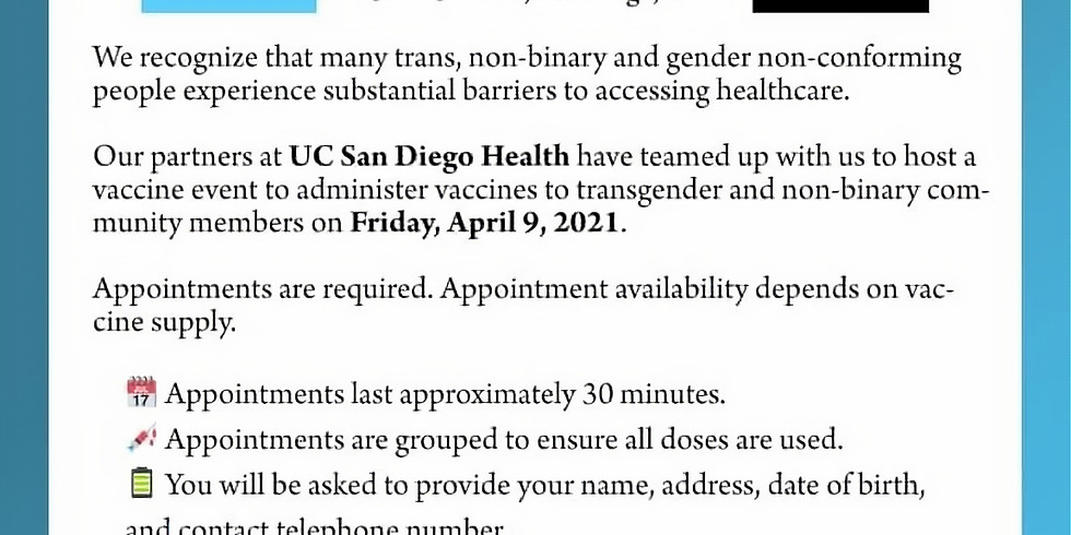 Trans/Non-Binary Gender Nonconforming Vaccine Event
