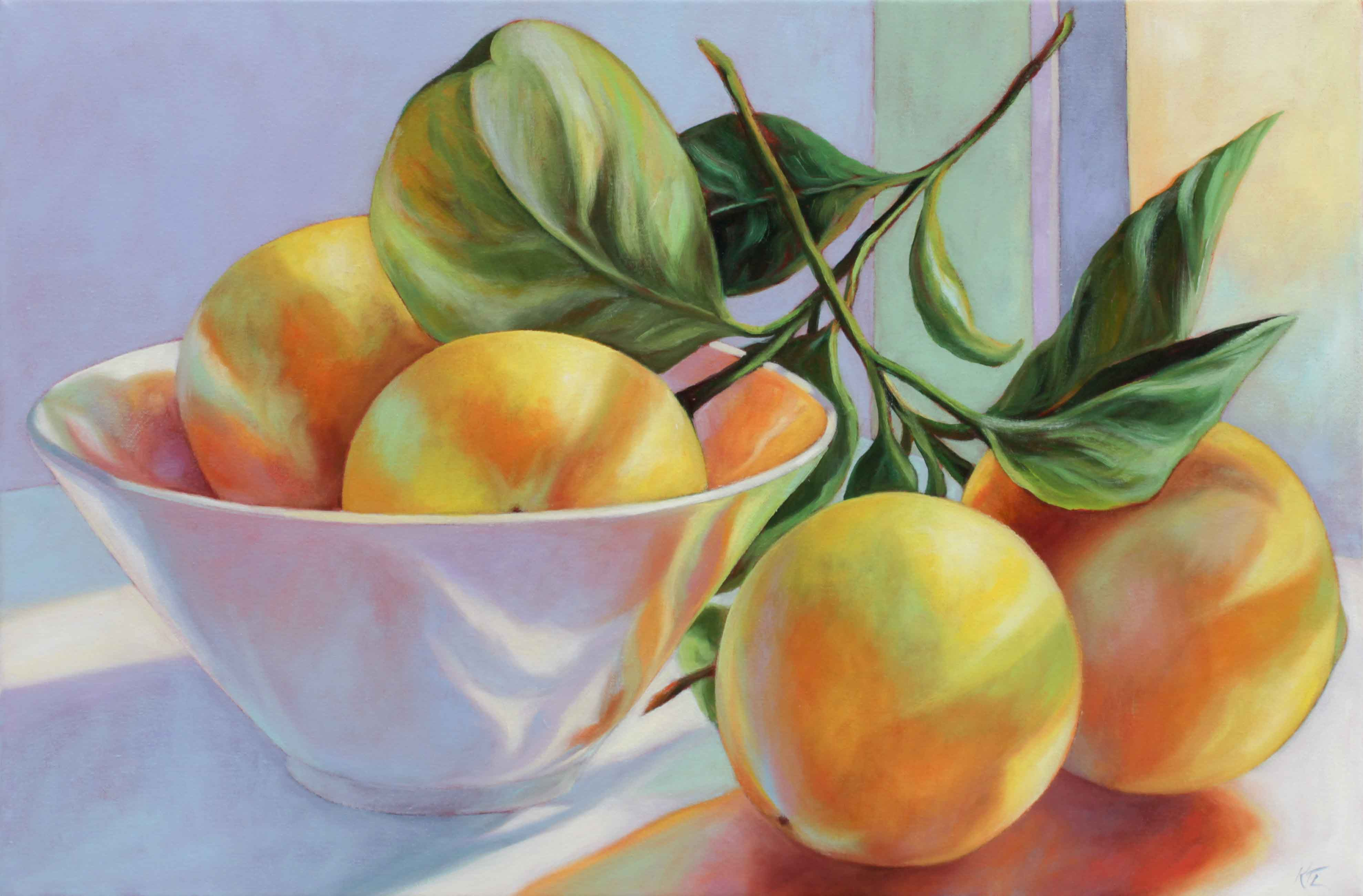 August Lemons, oil on canvas, width 51cm