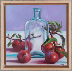 Plums with Glass Bowl