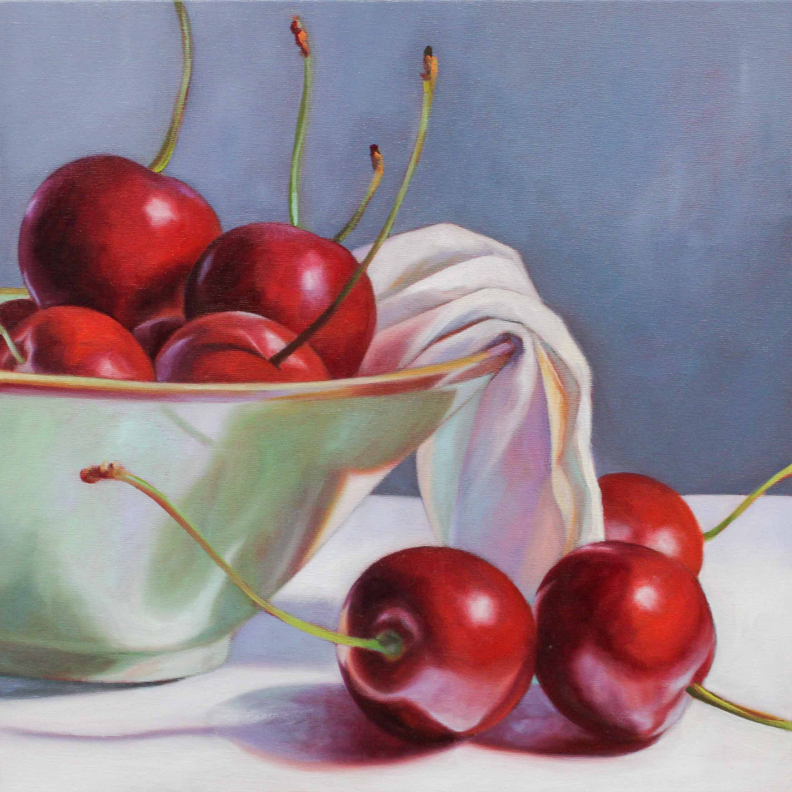 Cherries in Sage Bowl