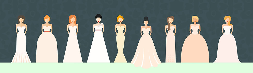 various bride with various weddings dresses
