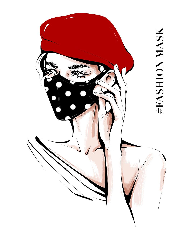 fată frumoasă cu mască de protecție pe față