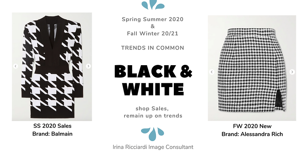black and white fashion trend: spring summer 20 and fall winter 21