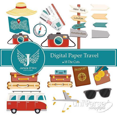 Die Cuts Digital Paper Travel