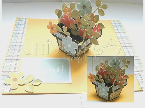 Cartão Pop Up Vaso de Flores - Uso Comercial