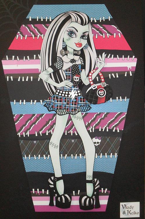 Quadro Escultura em Papel Monster High Frankie Stein