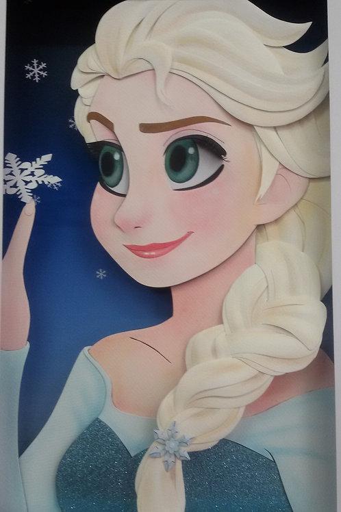 Quadro Escultura em Papel Princesa Elsa