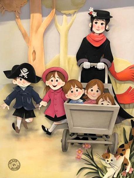 Quadro Escultura em Papel Mary Poppins