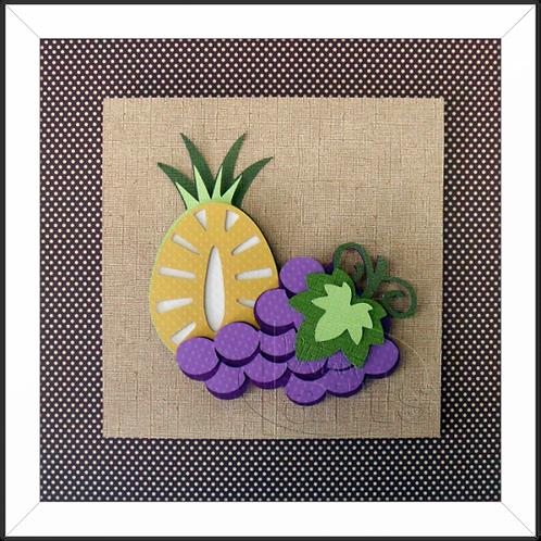 Quadro Decorativo Frutas Abacaxi e Uva
