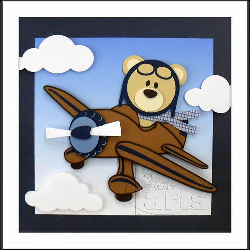 Quadro DecoraçãoUrso Aviador de Lado