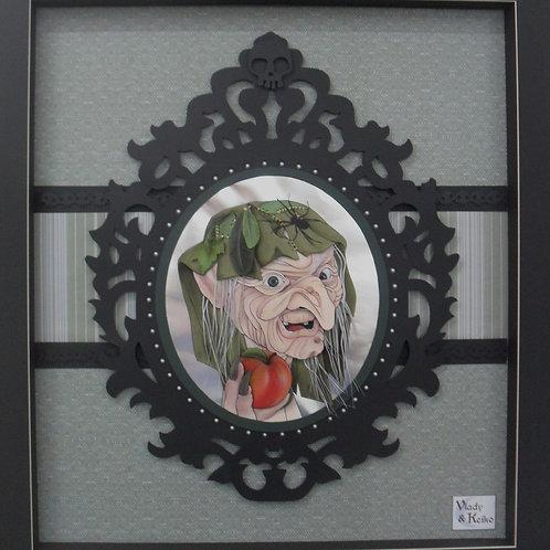 Escultura em Papel Sem Moldura Bruxa e Espelho