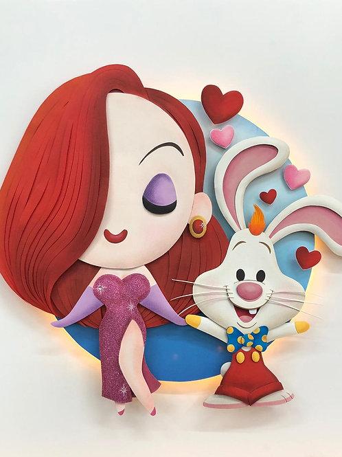 Quadro Escultura em Papel Roger Rabbit