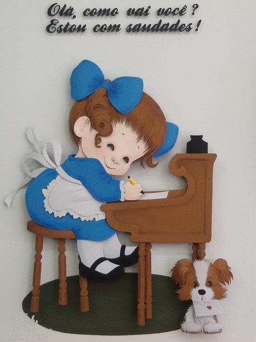 Quadro Escultura em Papel Escrevendo uma Carta
