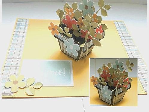 Cartão Pop Up Vaso de Flores