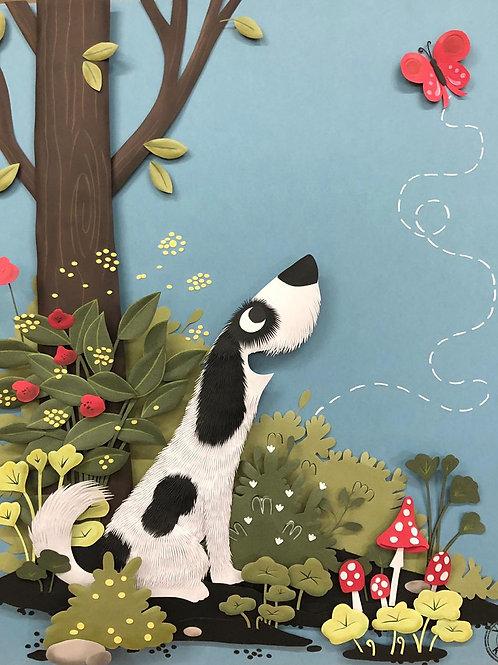 Quadro Escultura em Papel Cachorro na Floresta