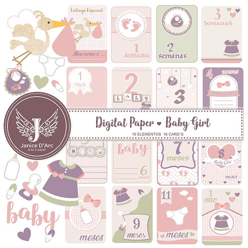 Cards e Die Cuts Baby Girl Collection - Uso Comercial