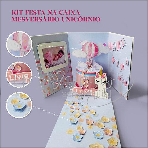 Festa na caixa - Kit Mesversário Unicórnio - Uso Comercial