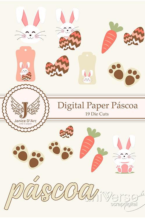 Die Cuts Digital Paper Páscoa - Uso Comercial