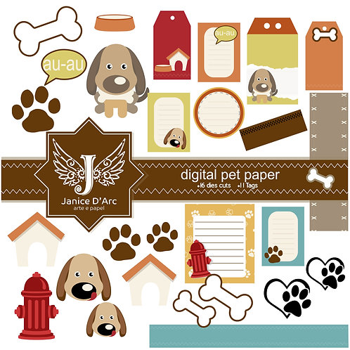 Tags e Die Cuts Digital Paper Pet