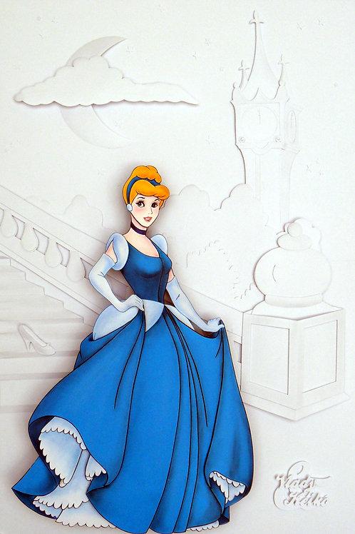 Quadro Escultura em Papel White Paper Cinderela