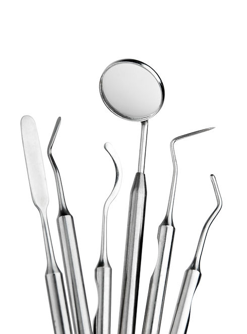 Set of metal medical equipment tools for
