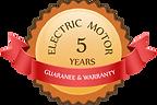 Electric Motor 5 years Guarantee and War