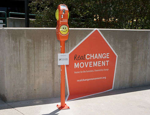 """The ArtCenter student designed, """"Real Change Meter"""" installed outside of Fuller Seminary. The meter is part of a transmedia, public awareness campaign from the 2013 Designmatters """"Real Change Movement"""" studio addressing homelessness in Pasadena in conjunction with city leaders."""