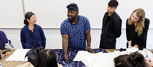 Guest Facuty and indigo dye master Gasali Adeyemo (center) and guest Christina Kim (left), the founder of the eco-conscious Los Angeles brand Dosa, with students in the Spring 2019 TDS Indigo, photo by Juan Posada