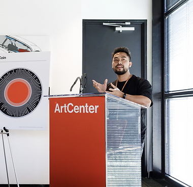 Graduate Industrial Design Student, Brandon Comer speaking at the Fall 2019 ArtCenter Military & Veteran Luncheon