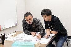 ArtCenter Faculty member, James Meraz with Environmental Design student Chahn Sung.